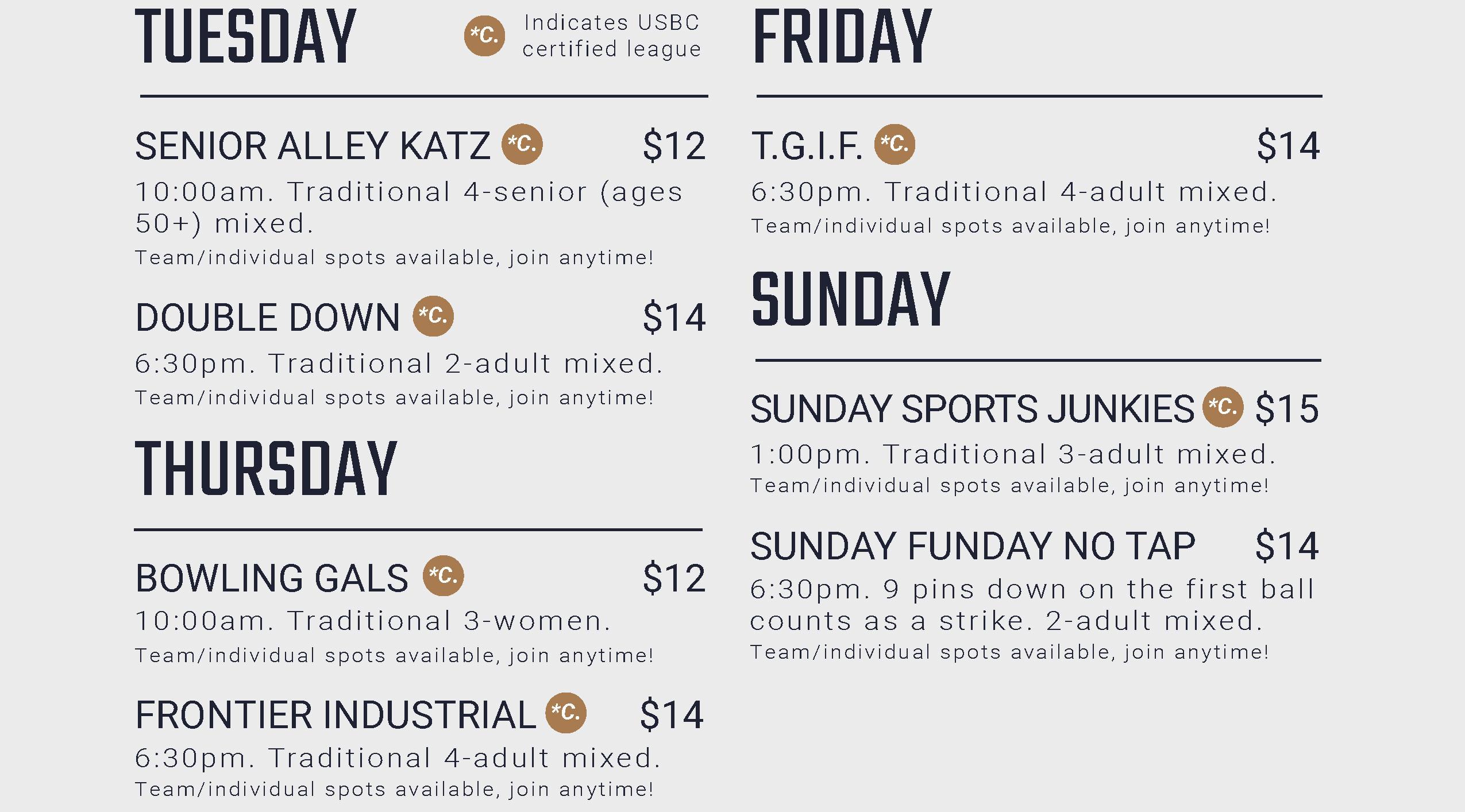 Bowling league schedule