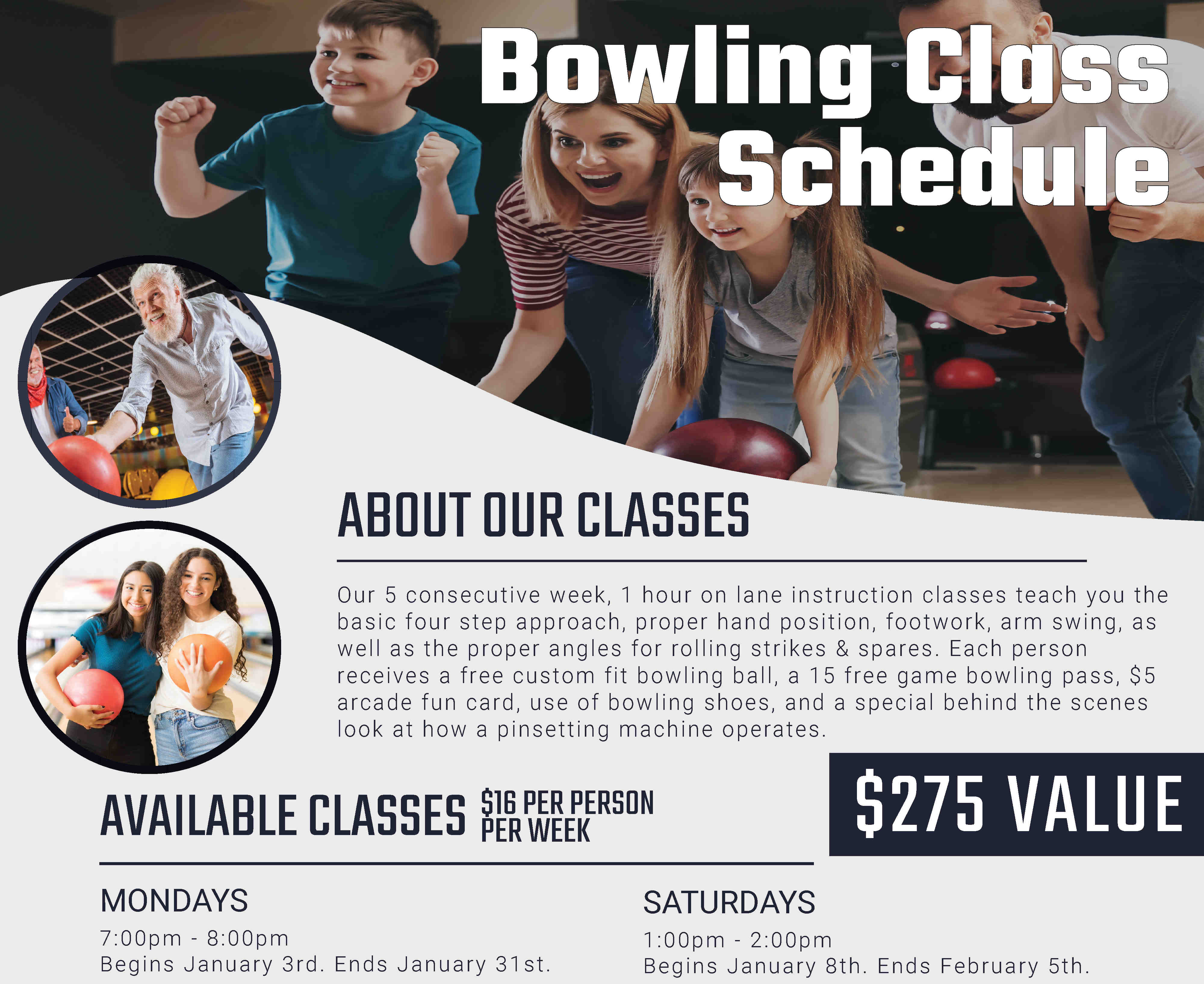Bowling class schedule and information