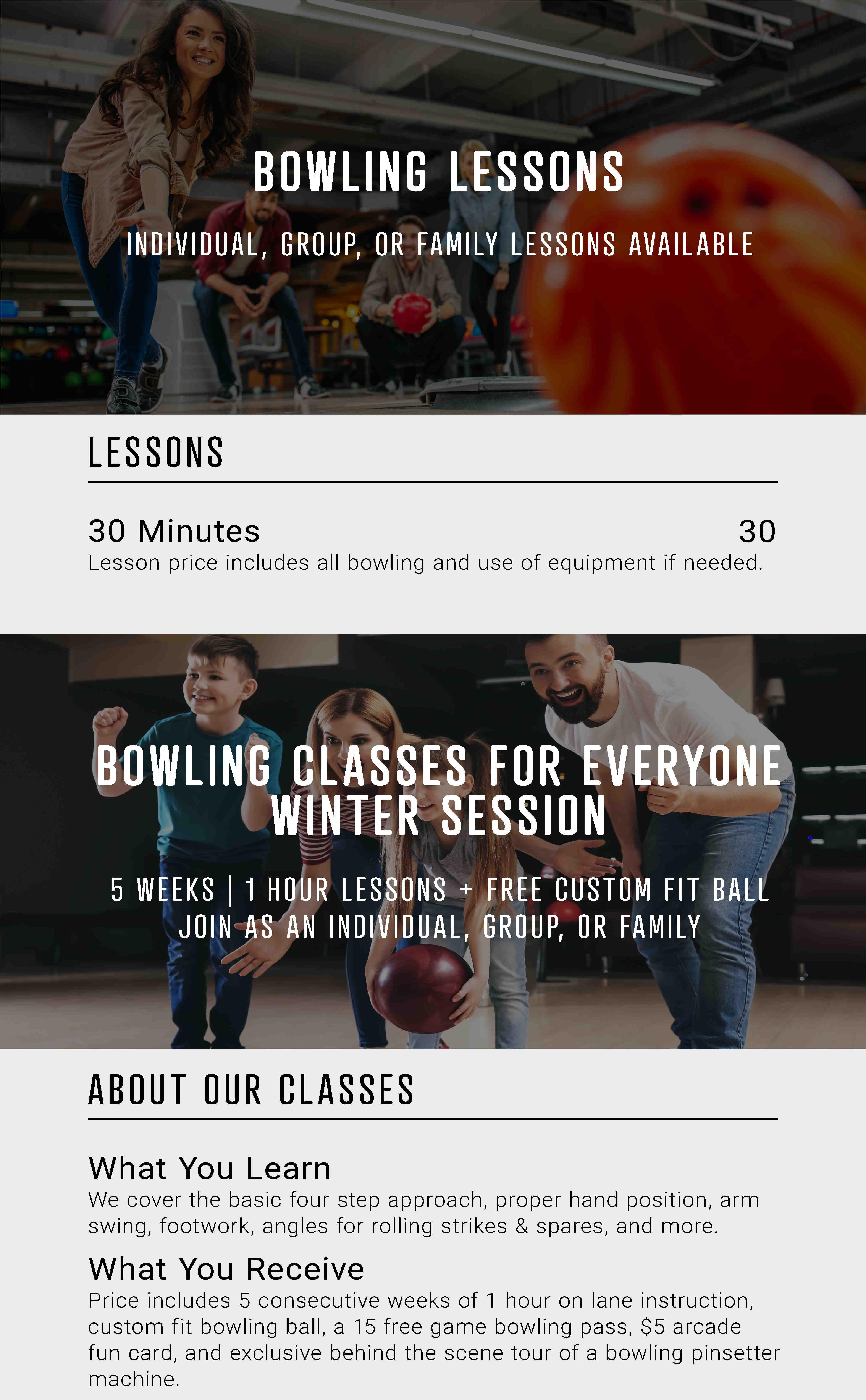 Bowling lessons and classes information