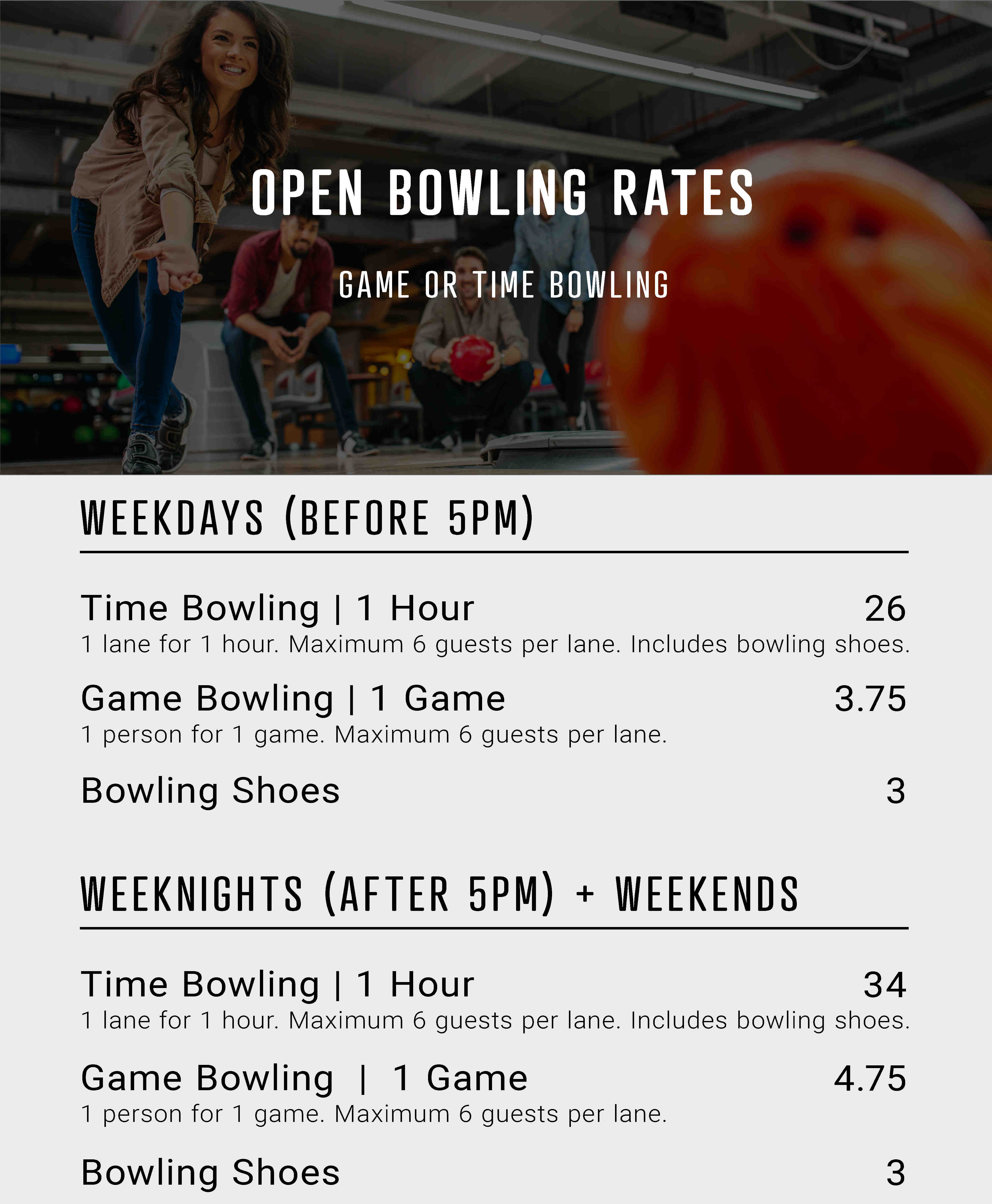 Open bowling - Game or time rates